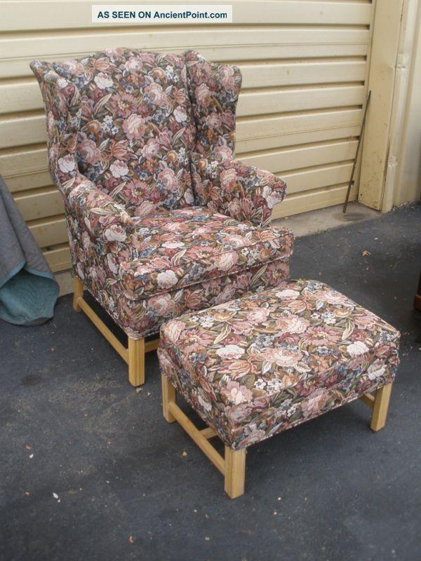 47342 Ethan Allen Wing Chair & Ottoman Post-1950 photo