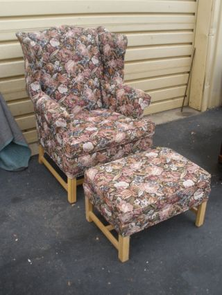 47342 Ethan Allen Wing Chair & Ottoman photo