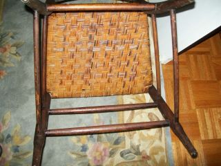 Antique Vintage Rush Seat Chair Spindle Back photo