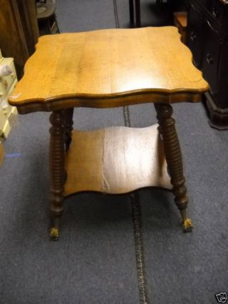 Refinished Antique Oak Parlor Table With Claw Feet photo