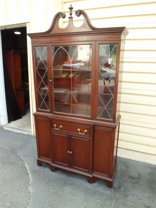 50688 Antique Mahogany China Cabinet Breakfront photo
