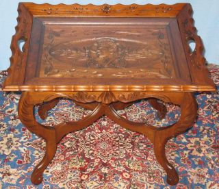 Vintage Solid Walnut Sofa Coffee Table Carved Female photo