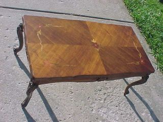 Great Vintage French Coffee Table Carved With Inlaid Floral Fruitwoods photo