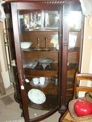 Antique Solid Oak China Cabinet With Curved Glass Doors - High Quality photo