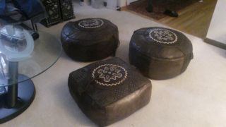 3 Elephant ' S Skin Ottomans From 1940 ' S photo