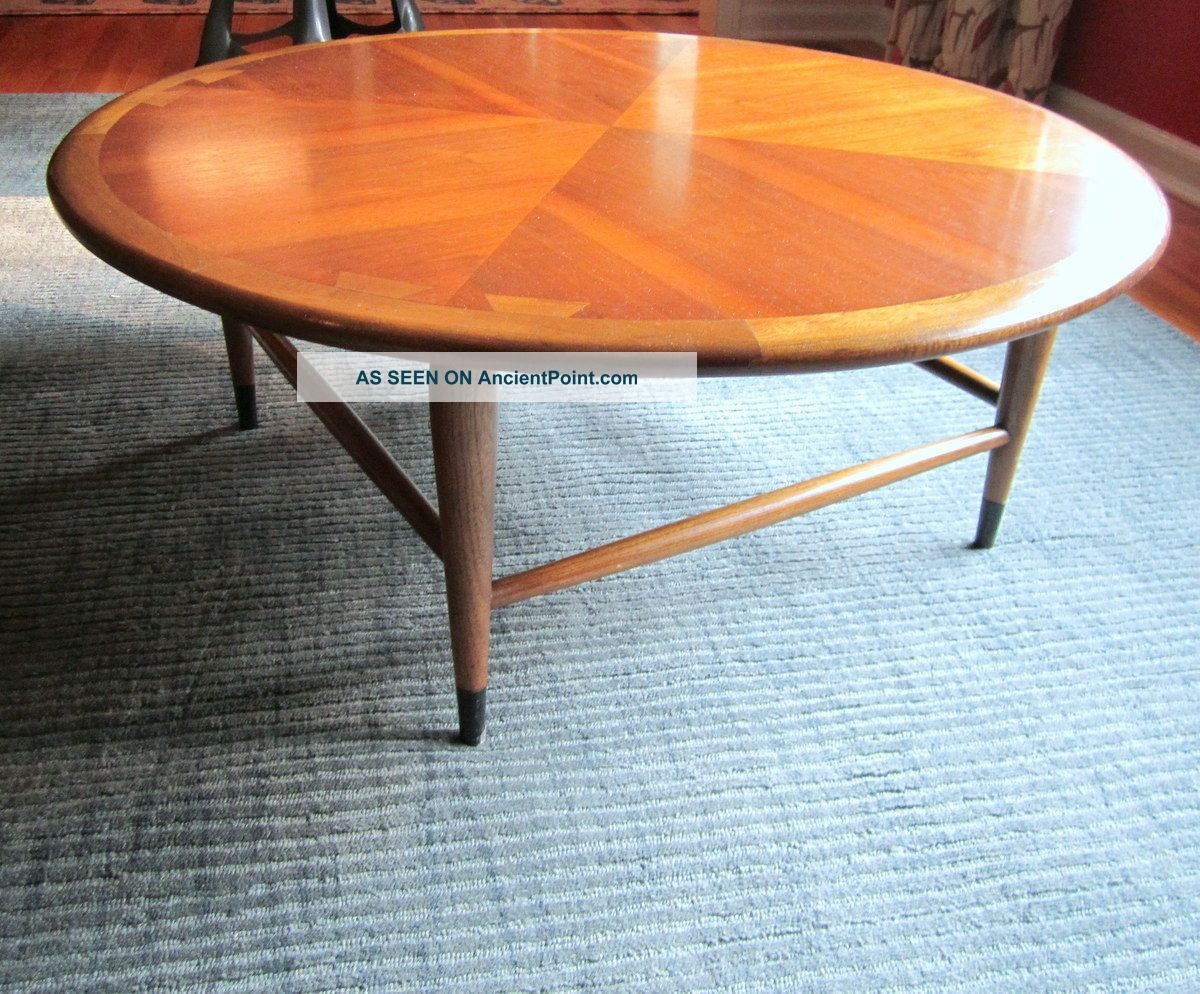 lane dovetail round coffee table - coffee addicts