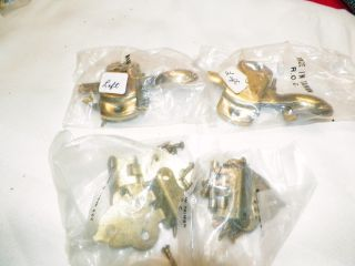 Antique Nos Brass Hoosier Left Hand Latch/2 & Hinges/2 Sets photo