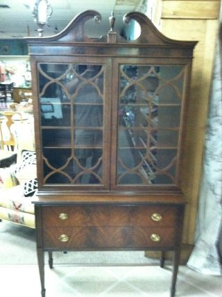Antique Mahogany Display Cabinet (display,  China,  Bookcase) Circa 1930 photo