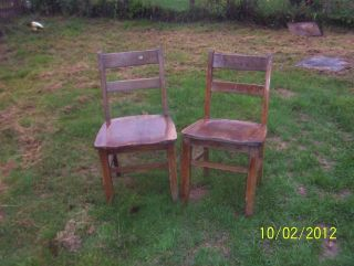2 Industrial Era Solid Oak Chair - 1950s Era /used photo