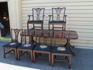 50347 Georgetown Solid Mahogany Dining Table W/ 6 Chippendale Chair S photo