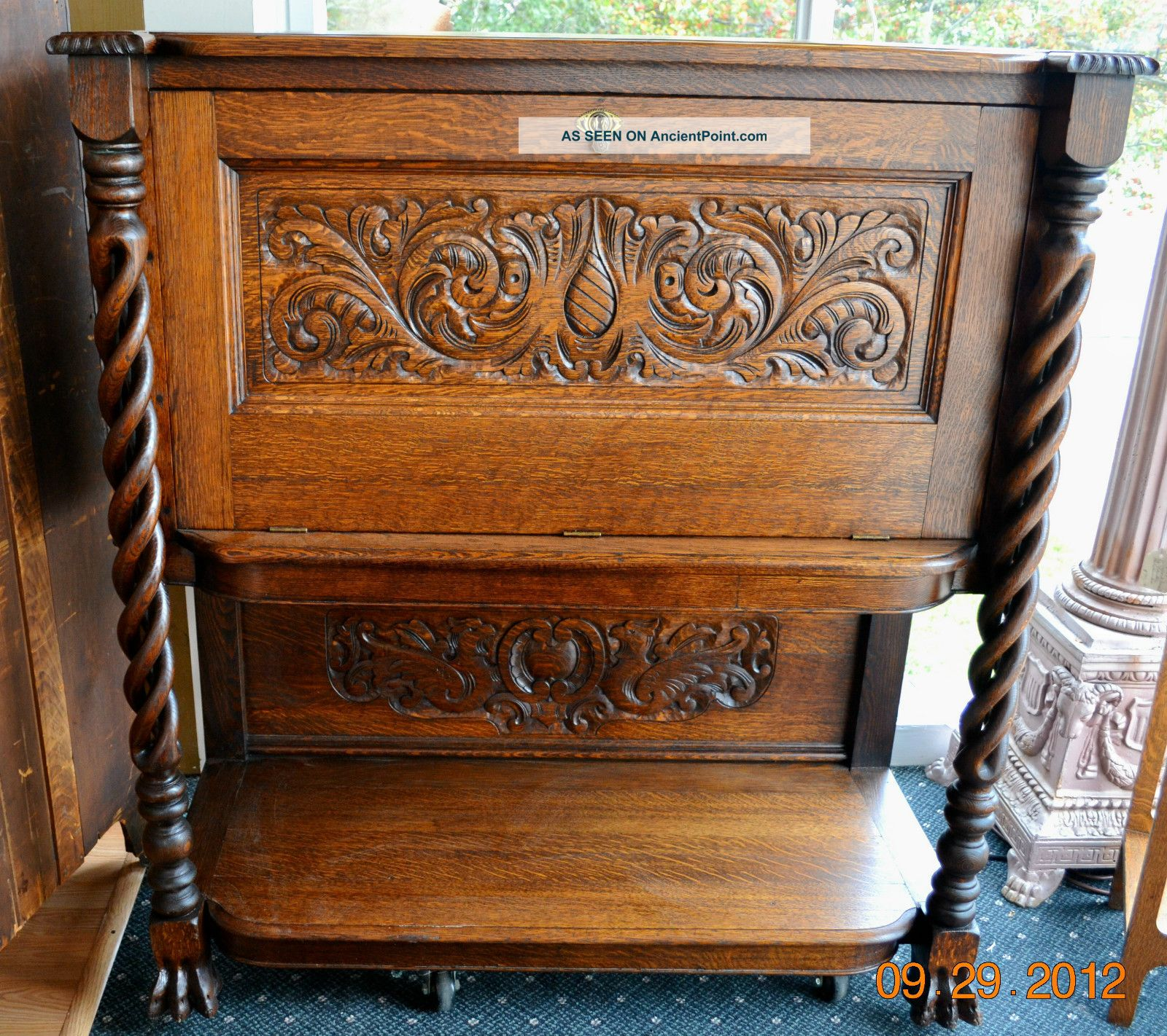 Gorgeous Antique Oak Liquor Cabinet, Carved Open Twists, Claw Feet,  Refinished