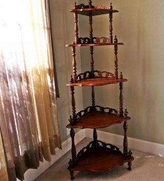 Highly Ornate Vintage Solid Wood Spindle Finials Rococo Style Corner Shelves photo