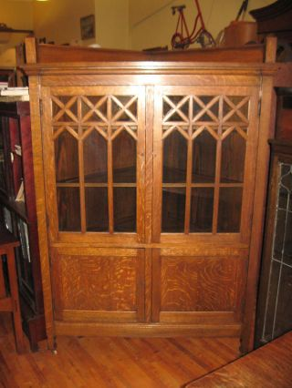 Antique Large Corner Oak Mission China Cabinet Dining Arts $ Crafts 1910 ' S 1900s photo
