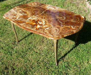 Antique Vintage Marble Topped Bronze Legs Cocktail Coffee Table Louis Rococo photo
