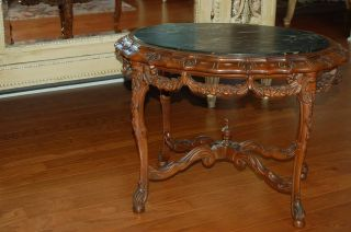 Gorgeous Antique Barbola Roses Swags Ornate Coffee Side Table Marble French photo