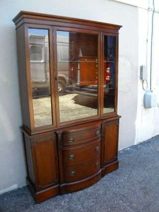 Mahogany Glass Front Dining Room China Cabinet 1282 photo
