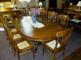 Antique Oak Table Extension Table W/ 5 Leaves Solid 1/4 Sawn Oak Refinished photo