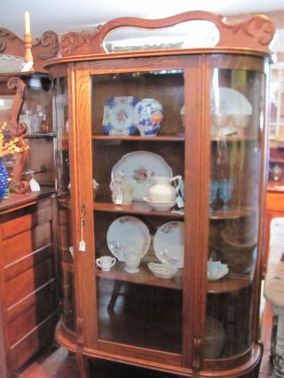 Antique Oak Glass China Cabinet Bowed Glass Sides photo