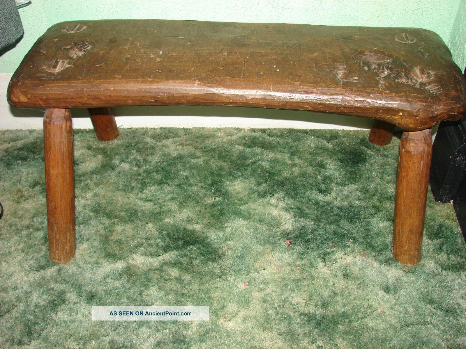 Antique Vintage Bench Table Chair Furniture Oak Usa Garden Wood Folk Art Bedroom Post-1950 photo