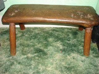 Antique Vintage Bench Table Chair Furniture Oak Usa Garden Wood Folk Art Bedroom photo