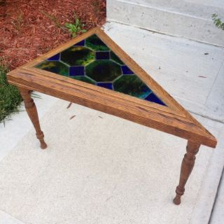 Antique Triangle Oak Coffee Table With Old Tile Top And Ornate Legs photo