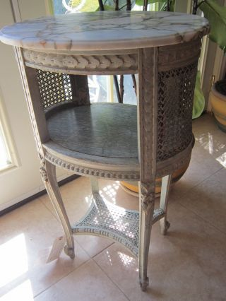 Antique French Carved Paint Wood/marble Side Lamp Table Nightstand/plant Stand photo