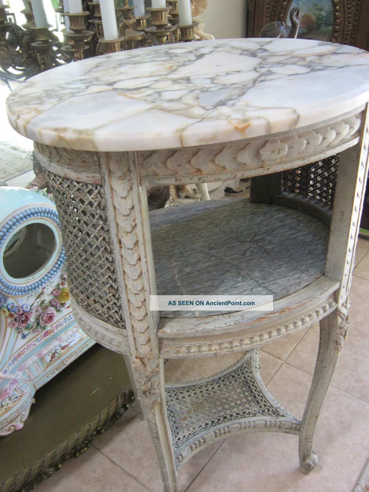 Antique French Carved Paint Wood/marble Side Lamp Table Nightstand . Full resolution‎  picture, nominally Width 1200 Height 1600 pixels, picture with #526B79.