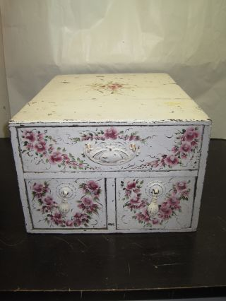 Vintage Wood Three Drawer Cabinet Hand Painted White With Flowers photo