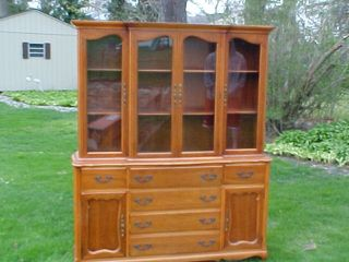 Vintage Antique China 2 Two Piece Cabinet Red Cedar photo