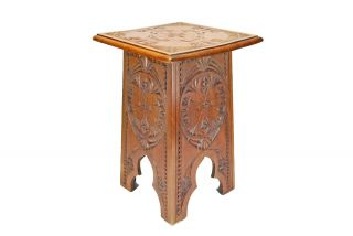 Antique Frisian Chip Carved Occasional Or Side Table,  Dutch. photo