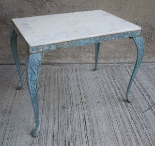 Vtg Industrial Cast Iron Blue Patio Garden Grapevine Side/end Table & Marble Top photo