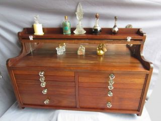 Rare Antique Solid Walnut Wood Dentist Wall Cabinet/jewelry Box Chest Of Drawers photo