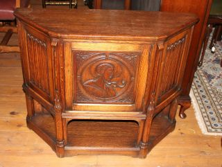 English Antique Hall Table / Cabinet.  Made From Oak. photo