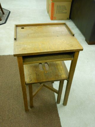 Quarter Sawn Oak Telephone Table W/ Nested Bench Finish & Reinforced photo