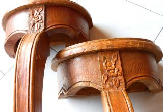 Pair Of Antique French Wooden Carved Consoles photo