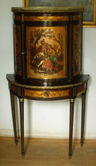 French China Cabinet Console Table Marble Top Hand Painted Scenes photo