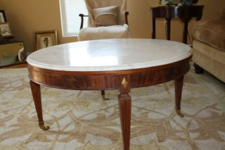 Vintage Baker Coffee Table With Marble Top photo