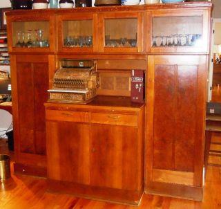1930s 1940s Custom Oak Wood Retail Pharmacy General Store Cabinet Primitive Nj photo