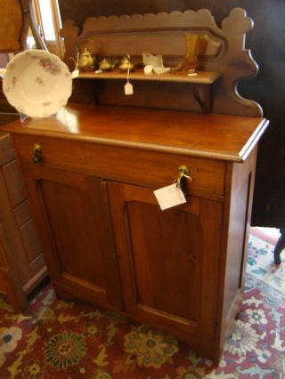 Antique Jelly Cupboard=walnut Wood - Made In Usa - photo