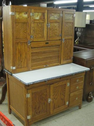 Sellers 1910 Country Oak Kitchen Cabinet W/flour Sifter photo
