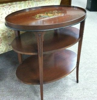 Antique 3 Tier Side Table Circa 1940 Featuring Handpainted Floral