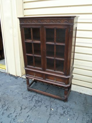 50180 Antique Oak China Cabinet Curio With Drawer photo