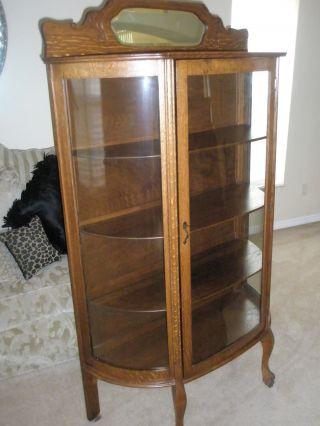 Antique Larkin Co Oak China Cabinet Curved Glass Backsplash W/beveled Mirror photo