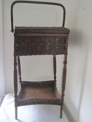 Antique Vintage Wood Wicker Woven Cabinet Basket 26