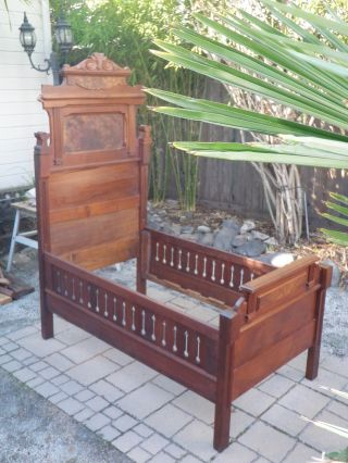 Antique Walnut Childs Bed Eastlake Style photo