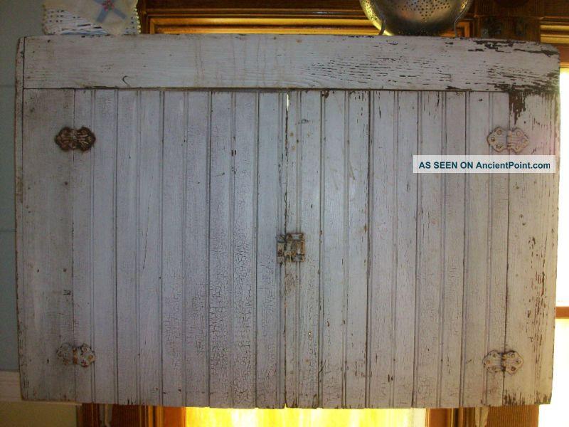- Antique Primitive Cupboard Cabinet Beadboard White