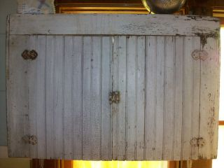 Antique Primitive Cupboard Cabinet Beadboard White photo