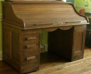 Large 1899 Large Oak Rolltop Desk By Joseph Shoemaker,  Made In Philadelphia Pa photo