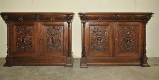French Renaissance Cabinets Matching Pair In Oak photo