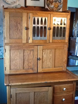 Hoosier Antique Cabinet - Natural Oak - Originally Made In Indiana photo